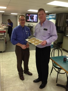 Todd DeWeese, Taylor Indiana, and, Ted Wadsworth, Sales Manager, Instanstwhip Foods, Indianapolis, IN. Just baked David's Chocolate Chip Cookies. Ready to make handcrafted ice cream sandwiches and chocolate chip cookies homemade ice cream