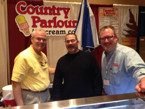 My good friend Dwyne Cornell w/Cornell's Milk & Honey, Canton, OH. At David Hovanec's Country Parlour Ice Cream Co. booth. ..and that's me in the yellow polo.