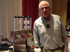 Dennis Byrne, Byrne & Associates representing  Server Products showing several new products. Dry topping dispensers for Sugar and other dry toppings